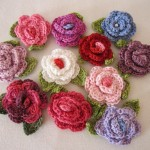 B001 Bamboo & Cotton Rose Brooch