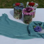 B009 Bamboo Tinned Scarves & Rose Brooch