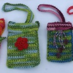C043 Crochet Cell Bag Small & C044  Cell Bag Large