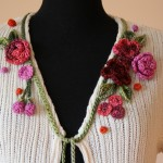 C051 Close Up - Cotton Cardi Frill + Bamboo crochet Flowers