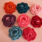 C053 Bamboo & Cotton Rose Brooch Large