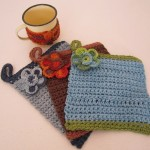 C055 Cotton Crochet Pot Holder & Flower C056 Cotton Trim On Enamel Mug