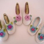 C057 Cotton Ballet Slippers + Crochet Flowers Adult Sizes